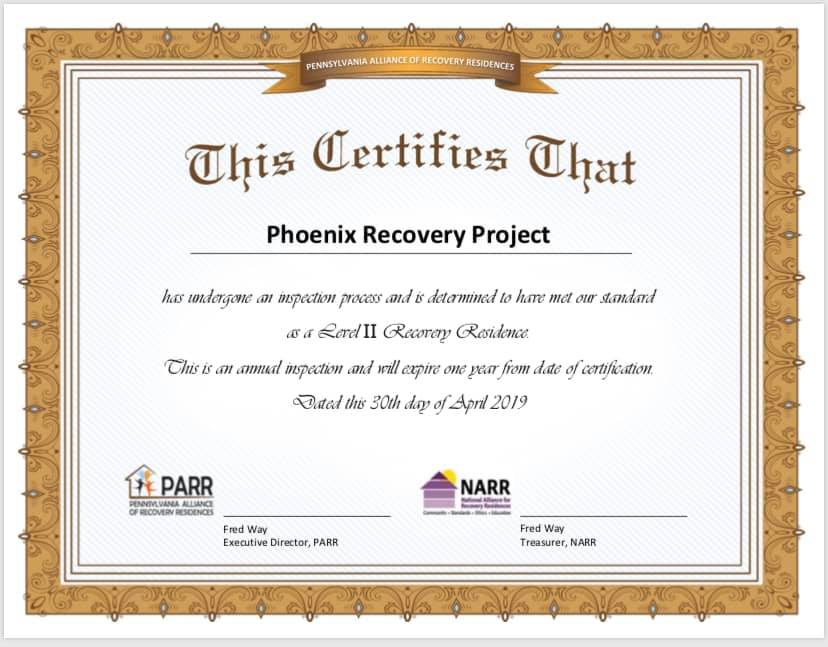 PARR NARR recovery residence recovery house sober living in pennsylvania chester county philadelphia area